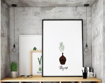 Thyme Printable. Kitchen Art. Herbs Kitchen Decor. Natural Kitchen Art. Kitchen Printable. Herbs. Kitchen Decor. Spice Print.