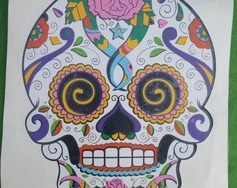 Sugar Skull - Calavera - Custom Decal - Car Sticker - Dia de los Muertos - Day of the Dead - transfer graphic laptop notebook skin