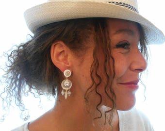 Earring clip Yucatan beige (made in France)