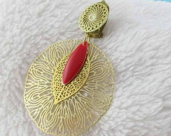 """Earrings clips """"Jellyfish"""" red or Golden (made in France)"""