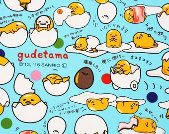 "Gudetama, Lazy Egg Sanrio Character Fabric made in Japan FQ 45cm by 53cm or 18"" by 21"""