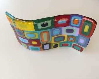 Spangles fused glass wave