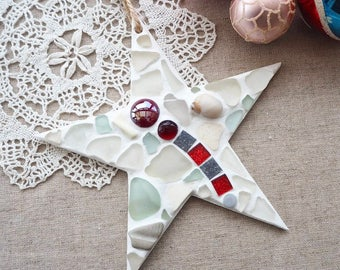 Ruby red seaglass 'STAR' hanger handmade in Cornwall