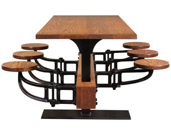 Oak Cafe Style Dining Table with Attached Swing Out Seats