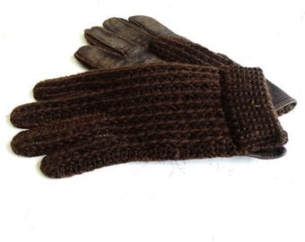 Knit gloves for men Size S-M mens leather gloves driving gloves men chunky knit gloves brown winter gloves men retro vintage 70s