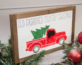 Old Fashioned Christmas Sign | Wall Hanging | Farmhouse Style Decor | Vintage Christmas | Rustic Christmas Decor | Christmas Cabin Decor