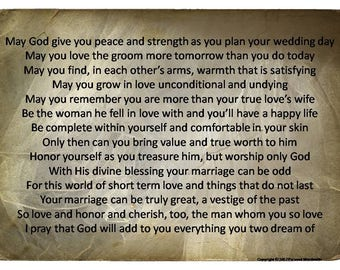 Bride To Be Prayer Print Engagement Party Speech Mother Of The Poem