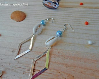 Geometric shell pearl earrings, gift idea mother grandmother, Easter