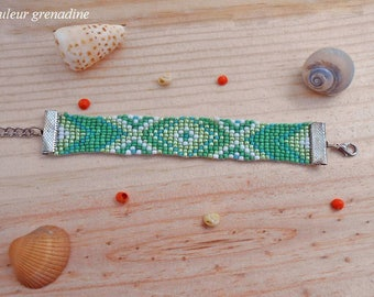 Ethnic bracelet woven with seed beads, birthday gift, mothers day