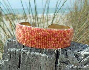Cuff Bracelet woven with coral miyuki beads, gift idea party a grand mothers, Easter