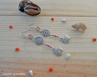 Earrings Bohemian glass beads, mandala and shell, gift idea for large party day, Easter