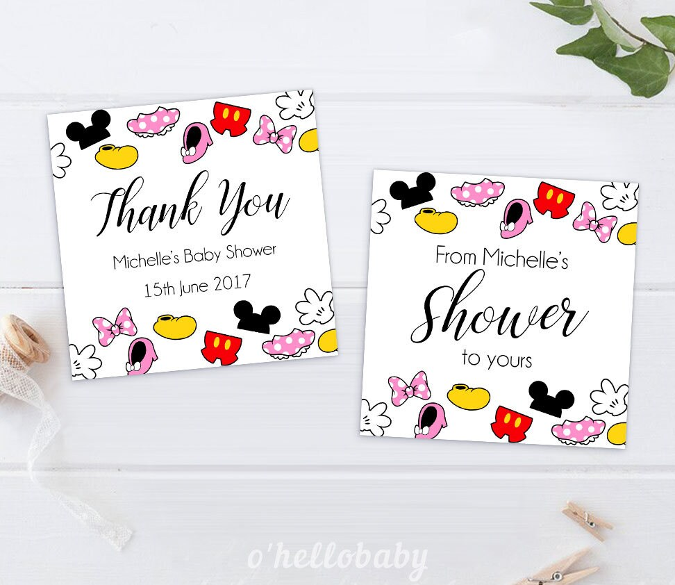 Disney Theme Baby Shower Thank You Cards Favor Tags   Disney Baby Shower    Gender Neutral