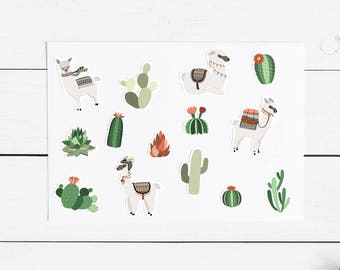 Llama and Cactus Sticker Pack- Planner, Journal, Snailmail