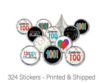 Happy 100th Birthday Party Favor Sticker Decorations for Favor Bags, Hershey Kiss Candy Labels, Envelope Seals and Scrapbook Embellishments