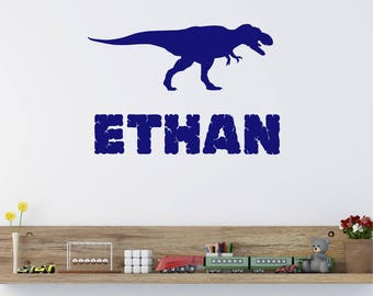 T Rex Dinosaur Personalised Boys ANY NAME Childrens Boys Girls Nursery Bedroom Matt Vinyl Wall Art Sticker Decal Transfer 330mm *20 colours""