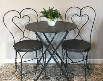 adorable 3 piece bistro set 2 vintage ice cream parlor chairs foldable table