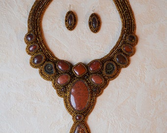 High fashion necklace and earrings beaded embroidery.Handmade jewelry.Japanese seed beads,red jasper stones.Back side natural leather.