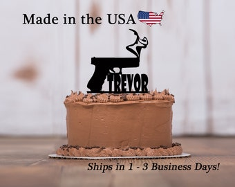 Smoking Gun Cake Topper, Birthday Decor, Cake Topper, Theme Party, Gun, Cake Topper, Birthday Party, Cake Decoration, Keepsake, LT1144
