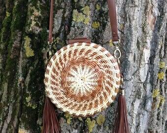Wicker & Leather Round Basket Purse  Woven vine  Bag Natural Color D18 cm