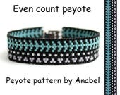 Beading pattern for beginners Even count peyote bracelet pattern Seed bead jewelry pattern Easy beaded bracelet pattern Simple peyote stitch