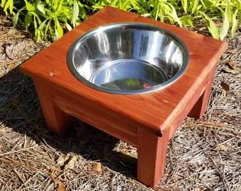 Medium Elevated Dog Bowl, Cedar, Elevated Pet Feeder, 1 Bowl Feeder,One Bowl Dog Feeder,Personalized Dog Feeder,Pet Feeder,Raised Dog Feeder