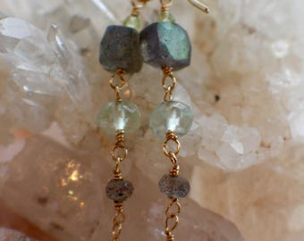 Labradorite Earrings, Prehnite Earrings, Peridot Earrings, Multi Gemstone Earrings, Dangle Earrings, Gold Earrings, Gemstone Earrings