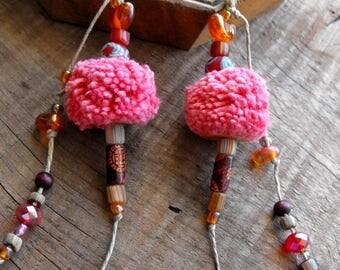 Pink ethnic earrings