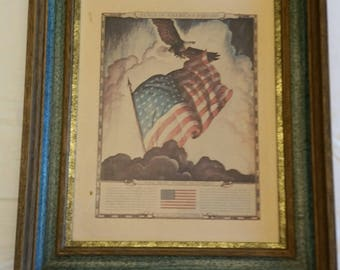 vintage framed cardboard print - old glory symbol of liberty - n c wyeth picture litho - historic flags usa american americana