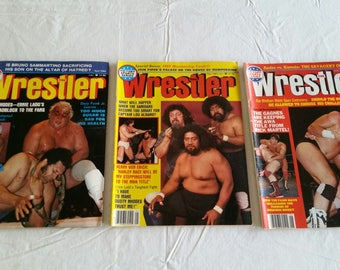 3 vintage pro wrestling magazines - the wrestler 1983 april may june  - wwe wwf awa ecw nwa sports verne gagne rick martel kamala  #h