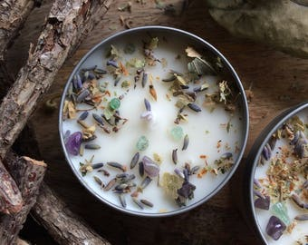 PARMA VIOLET & LIME scented soy candle, infused with dried botanicals and healing crystals, vegan scented candle, cruelty-free candle, gift