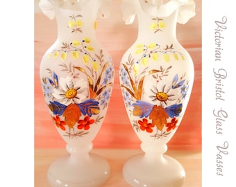 Antique Opaline Hand Painted  Bristol Glass Vases White , Blue and Gold Victorian Glass Vases
