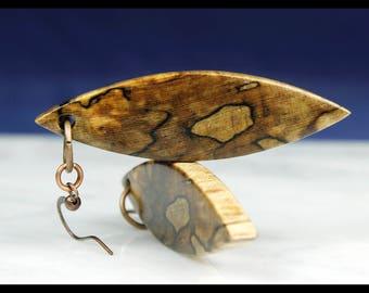 Boho Wood Dangle Earrings, Drop Earrings, gypsy earrings, boho jewelry christmas gift, woodland earrings, spalted wood, autumn, PWD003I