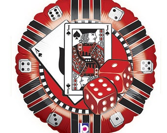 "Casino Cards Dice Poker 18"" Foil BalloonParty Supplies Decorations"