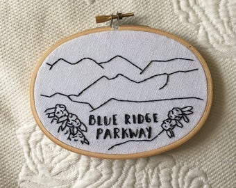 Blue Ridge Parkway Embroidered Hoop