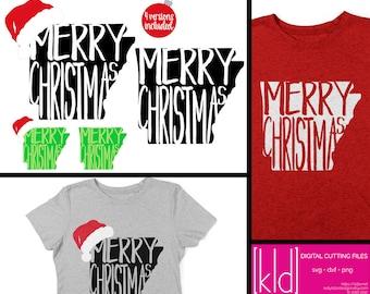 4 Arkansas Christmas - Arkansas svg - Merry Christmas svg - Santa Hat svg - State of Arkansas Christmas svg files