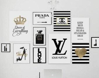 22 printable files. Fashion pack. Perfume, logo dripping, lipstick, keep your heels, gossip girl, , marfa, golden heart, geometric diamond.