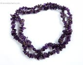 Vintage Amethyst Gemstone Beaded Necklace, Jewelry 1980s, Long, Twister Twist Style, Purple Chip