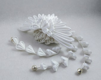 White Swan Bridal headpiece with Droplets / Tsumami Kanzashi / Geisha Inspired Alternative Fascinator