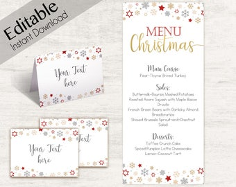 Menu Christmas template, Editable Menu, Editable Tent Card, Place Card, Buffet Card Template, Christmas Template, Christmas Decoration Gold