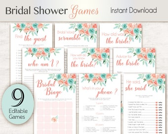Bridal Shower Games, Peach Mint, Editable Bridal Shower Games Package Set Bundle, Editable games, Bridal Shower Games Peach Turquoise Games