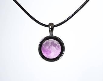 Black choker Girlfriend gift Pink moon Lunar choker Wife gift Full moon choker Choker pendant Moon choker Leather choker Choker necklace