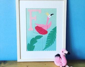 Framed F for Flamingo Dancing Queen