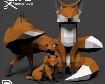 LowPoly - Fox Family