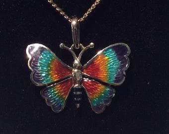 14K white gold enameled butterfly #591 S