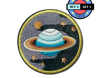 Star Space Saturn Earth Embroidered Iron On Patch Heat Seal Applique Sew On Patches