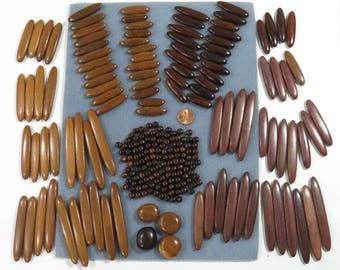200+ Project Oblong Wooden Beads, Graduated Varied Size, 3 Hole 2 Hole Center Drilled, 2 Tone Brown, Jewelry Necklace Belts Mobiles