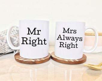 Mr. & Mrs. Coffee Mugs (2 Mugs) | Wedding gift | Bridal Shower gift | Engagement Gift | Couples Gift | Funny Mugs for Her | Mugs for Him