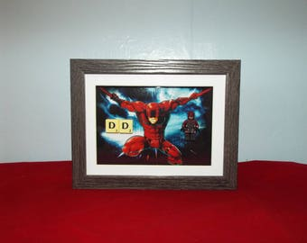 Daredevil, Matt Murdock Custom mini figure with scrabble in a frame. Great Wall Decor