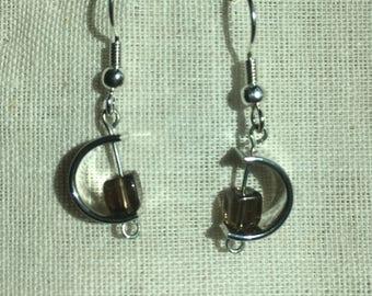 semi circle dangle wire wrap earrings with smoky quartz beads
