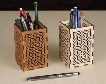 Wooden Pen holder - Pencil Pot - Desk Tidy with fretwork design